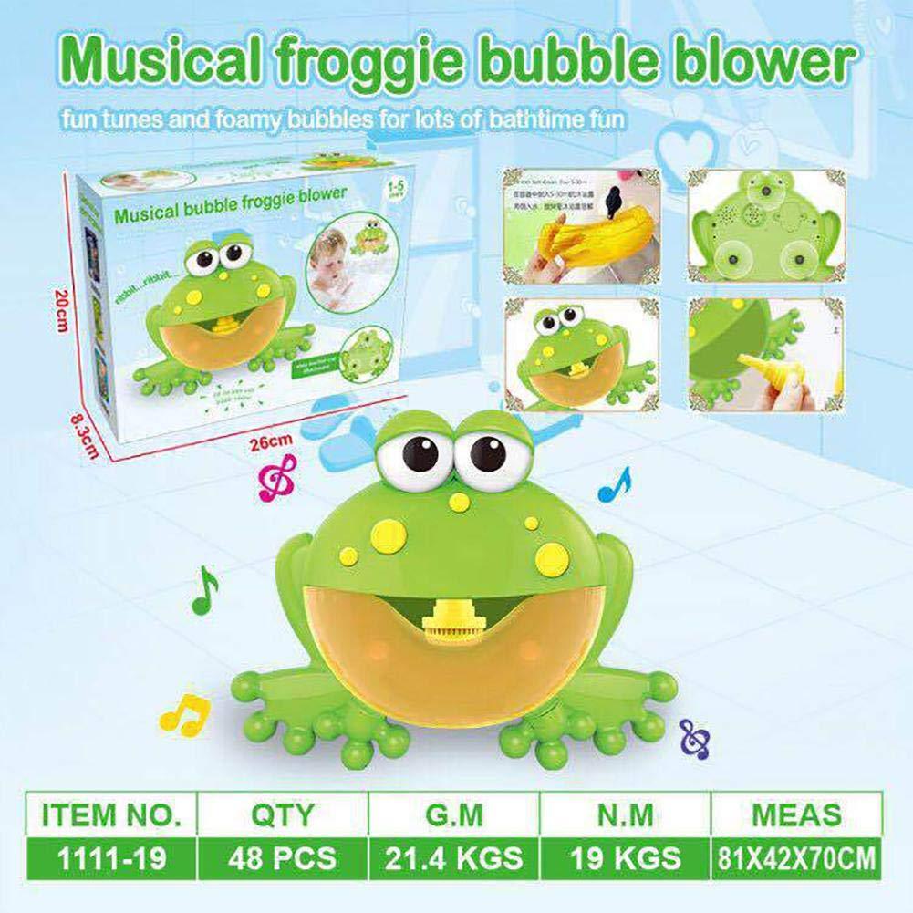 M/áquina de Burbujas Divertido Forma de Rana con 12 canciones de ba/ño de m/úsica de juguete para ni/ños