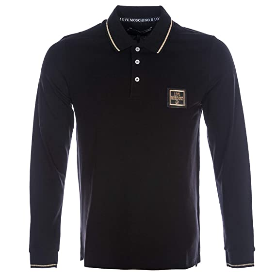 new arrival 22e75 1b88d Moschino Metal Badge Long Sleeve Polo Shirt in Black: Amazon ...