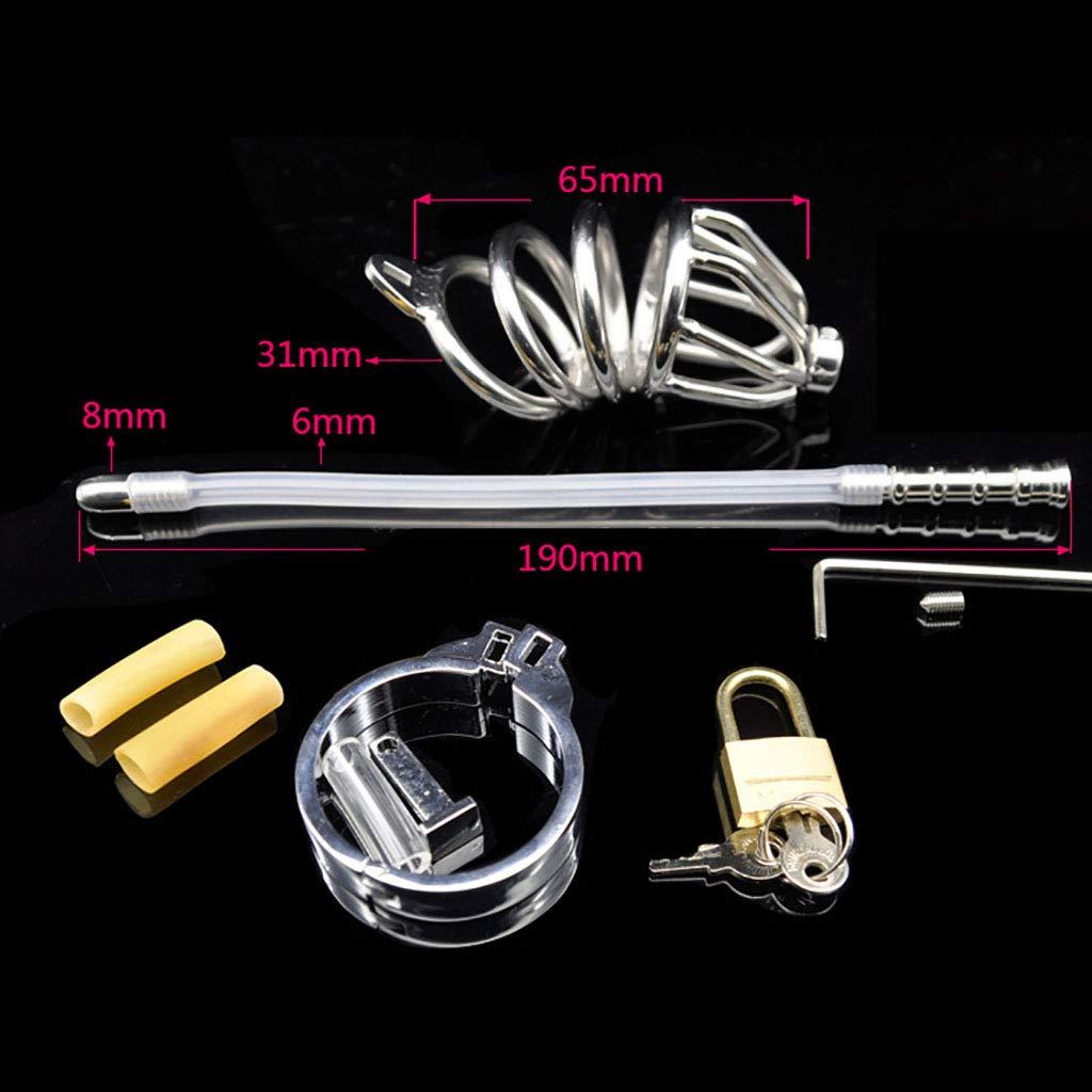 Cinturón de castidad acero Chastity Cage, acero castidad inoxidable smasher correa de metal cinturón de silicona catéter pene productos para adultos (Color : 43mm) d7f3a4