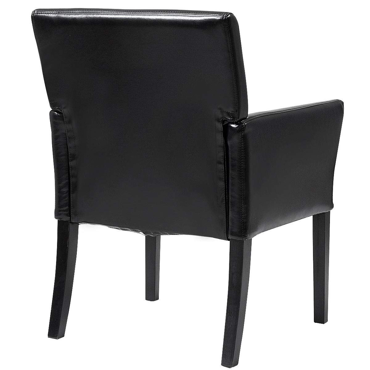 Giantex Leather Reception Guest Chairs Set Office Executive Side Chair Padded Seat Ergonomic Mid-Back Meeting Waiting Room Conference Office Guest Chairs w//Arms Black 1 PC