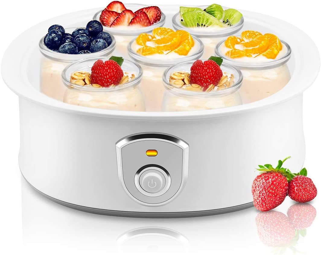 Automatic Yogurt Maker Machine 7 Glass Greek Jars Customize To Your Flavor And Thickness Electric Maker 1.5L White