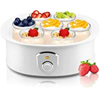 NutriChef Electronic Yogurt Maker Machine with 6-7oz Capacity Dishwasher Safe Glass Jars and Lids Automatic Milk to Greek Frozen Dessert Maker with One Button Operation and 120V Power