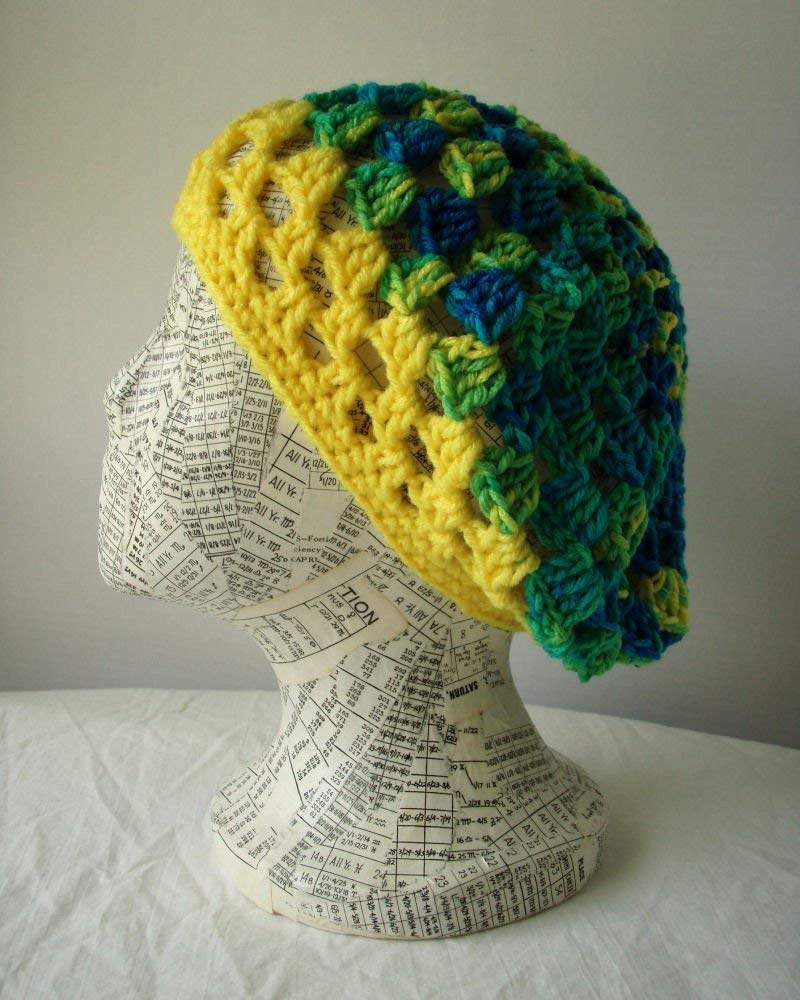 8b38f848a51 Amazon.com  Blue Green Yellow Granny Square Hat Crochet Beret Ladies Size  Medium  Handmade