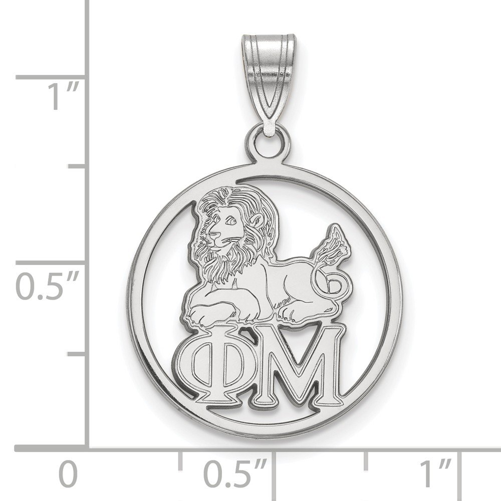 Solid 925 Sterling Silver Phi Mu Small Circle Pendant 18mm x 27mm