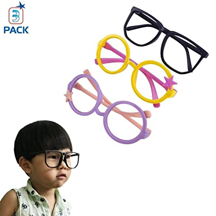 bba2367fe9ec Amazon.com: serbon Children Stylish Cute Glasses Frame Without Lenses Pack  of 3: Toys & Games
