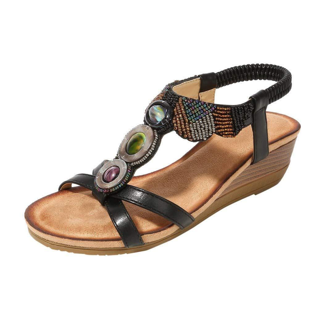 Caopixx Elastic Flat Sandals for Women Summer Bohemian Rhinestone Sandals Beach Open Shoes Black