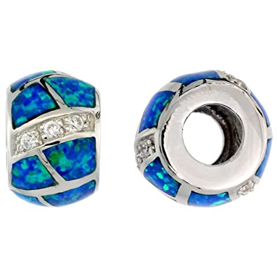 861a9a3d7 Sterling Silver Synthetic Blue Opal Bead Charm CZ stones Fits Pandora and all  Charm Bracelets,