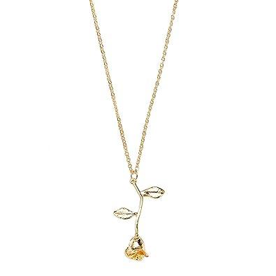Rinhoo Pendant Necklace Kid Girl Women Gift Rose Flower Lover Friend Novelty Causal fH4nmq91