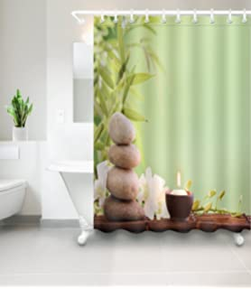 LB Asian Japanese Spa Theme Artistic Shower Curtain For Stall By Green Bamboo Candle