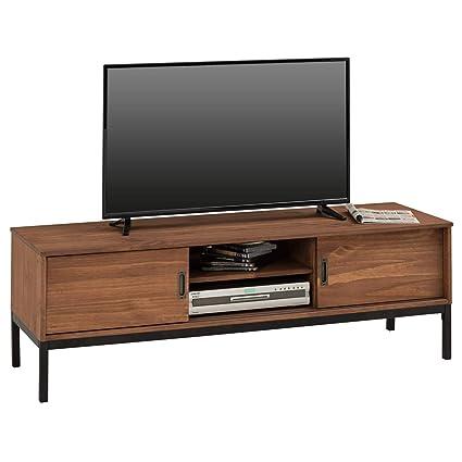 IDIMEX Meuble TV Selma Banc télé de 145 cm au Style Industriel Design  Vintage avec 2 Portes coulissantes et 1 Compartiment Ouvert, en pin Massif  ...