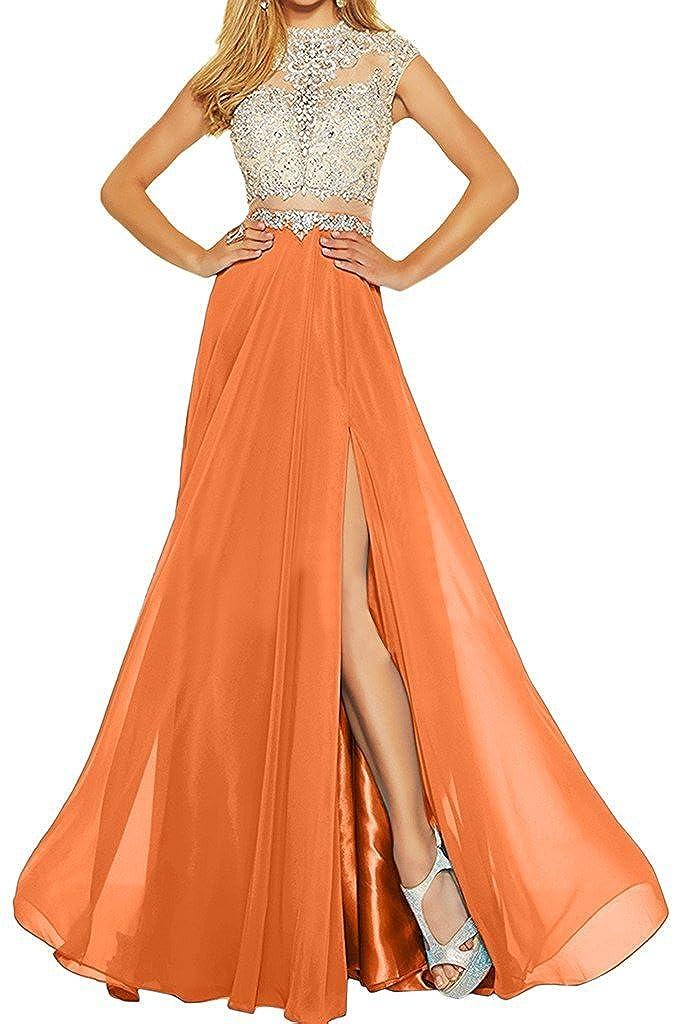 orange MariRobe Women's Beading Evening Dress Split Illusion Prom Gown Sleveless Backless Dance Dress for Girls Pink
