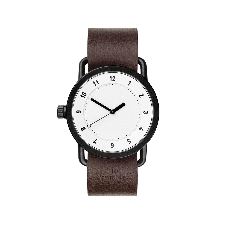 TID Watches Uhr Armbanduhr Weiss Lederarmband Braun