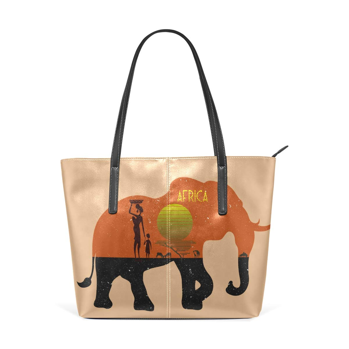 Cartoon Elephant Blue Flower Womens PU Leather Tote Shoulder Bags Handbags Casual Bag