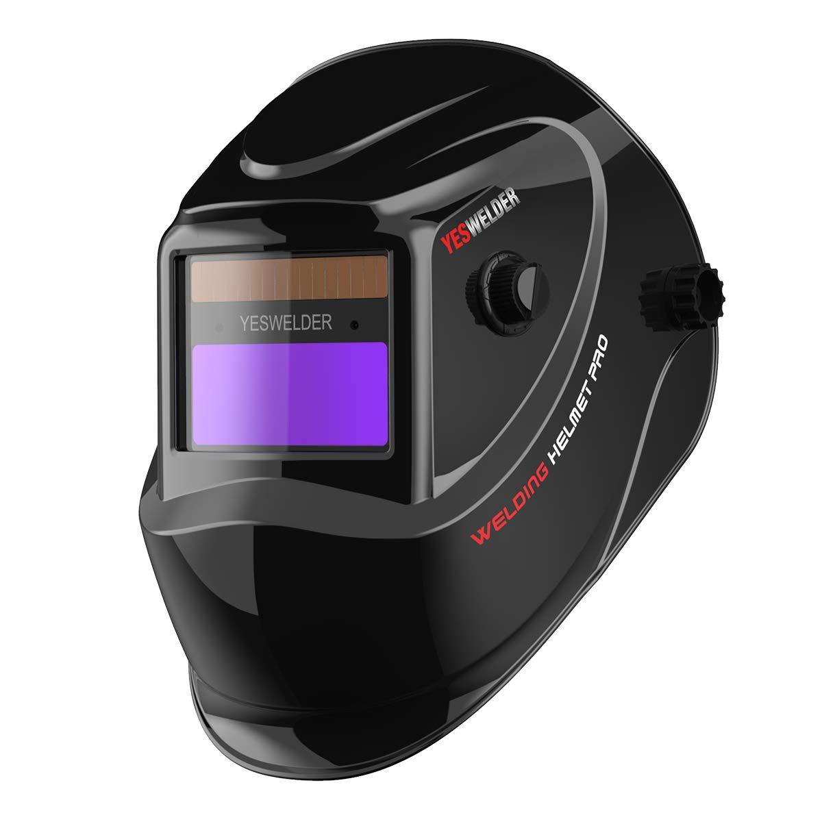 YESWELDER True Color Solar Powered Auto Darkening Welding Helmet, Wide Shade 4/9-13 for TIG MIG ARC Weld Hood Helmet