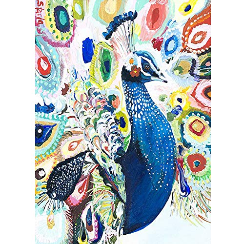 Eiflow 5D Diamond Painting Kits for Adults Full Drill Embroidery Art Kits Paint by Diamonds Round Drill Artwork,Colorful Peacock(30x40cm/11.8x15.7in)