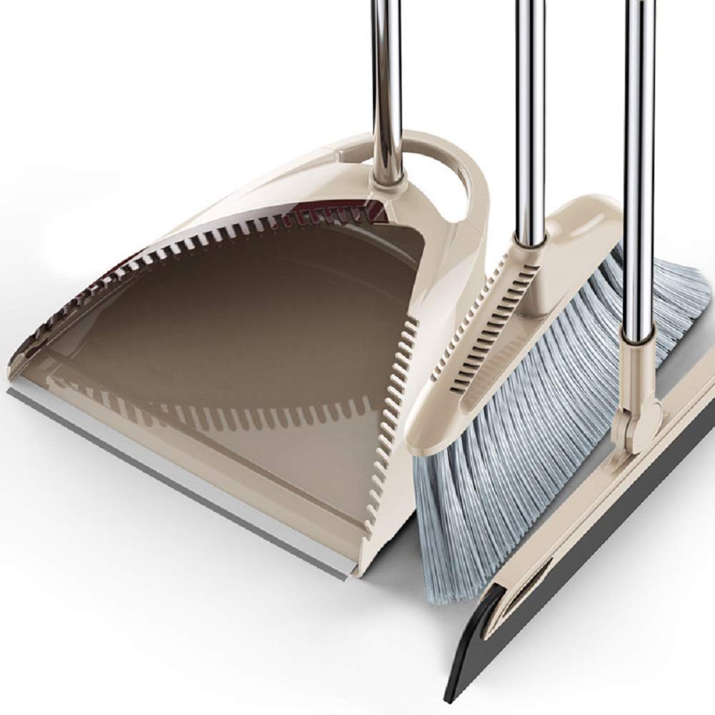 DGSD Dustpan Brush and Wiper Set,Foldable Broom Dustpan and Wiper Extra Long Handled Extendable Sweep Set for Commercial Hardwood Floor Use Brooms - 3Piece Set