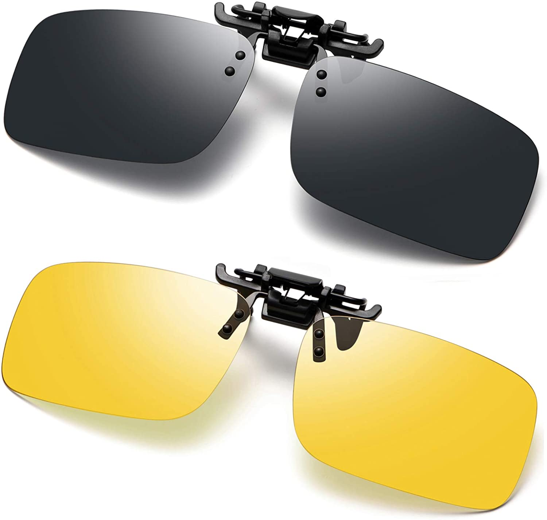 Polarised Clip On Sunglasses UV400 Anti-Glare Flip Up Sunglass