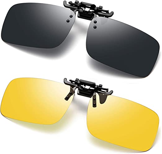 Sunglasses Flip Up Polarized UV400 Clip On Night Vision Car Driving Eyewear