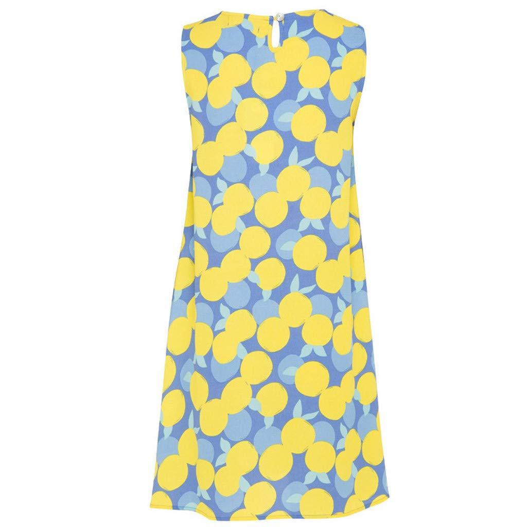 Rexinte Women's Sleeveless Pencil Dress Crew Neck Slip Print Sun Dress(Green,L by Rexinte