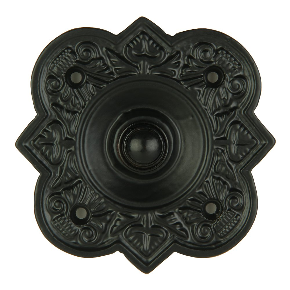 A29 Wired Iron Doorbell Chime Push Button in Black Powder Coat Finish Vintage Decorative Door Bell with Easy Installation