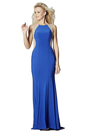 Tiffanys Illusion Prom Royal Blue Mila Jersey Open Back Gown UK 14 (US 10)