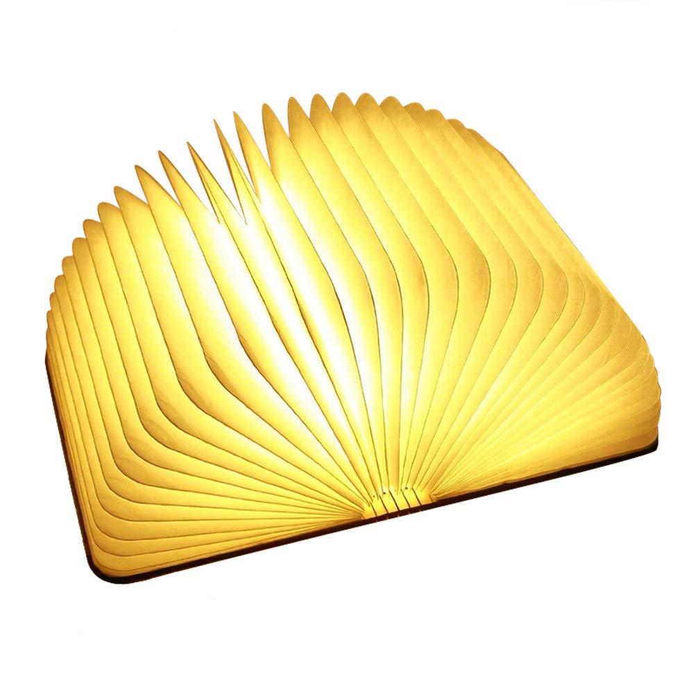 H/ölzerne faltende Buch-Lampe magnetisches LED-Licht Ideal f/ür Geschenk Tabelle//Schreibtisch-Lampe mit Akku 500 Milliamperestunden hell genug f/ür das Ablesen dekorative Lichter