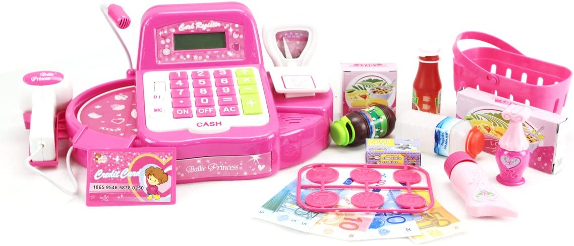 Amazon.com: powertrc rosa supermercado caja registradora con ...