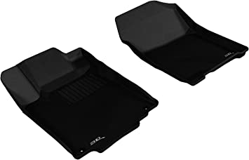 Black Kagu Rubber 3D MAXpider Front Row Custom Fit All-Weather Floor Mat for Select Honda CR-V Models