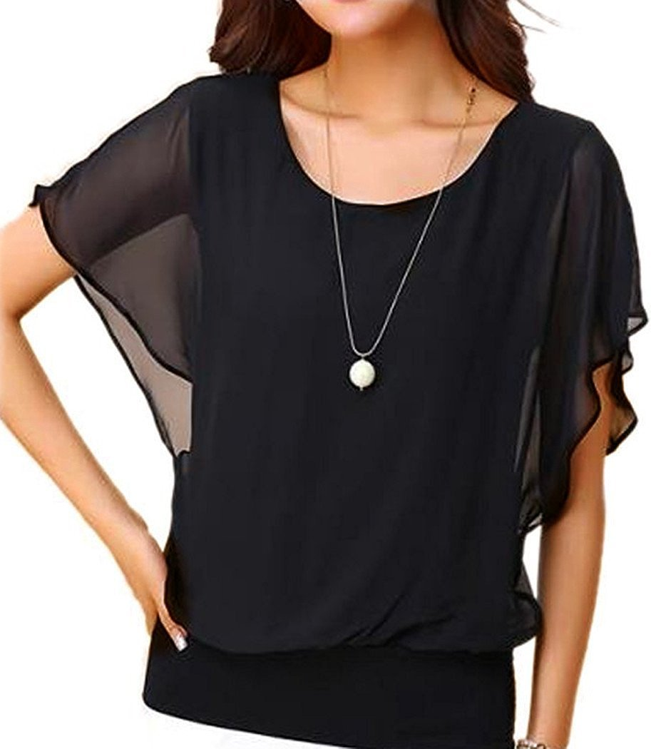 NEINEIWU Women's Summer Casual Loose Fit Short Sleeve Batwing Batwing T-shirt Shirt Chiffon Top Blouse (Black XL)
