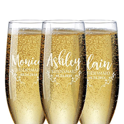 Bridal Party Gifts Bridesmaid Champagne Flutes Set of 1 to Set of 6 | Personalized Champagne Glasses for Bridesmaids Gift - Bridesmaid Champagne Glasses #D20 ()