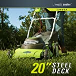Greenworks g-max 40v 20-inch cordless 3-in-1 lawn mower with smart cut technology, (1) 4ah battery and charger included mo40l410 20 includes (1) max capacity 4 ah - 40v lithium battery , cutting heights - 5 position durable 20'' steel deck lets you mulch, bag, or side discharge allowing you to maintain your yard the way you want it. This lawn mower is not self-propelled innovative smart cut technology automatically increases the speed of the blade when more power is needed