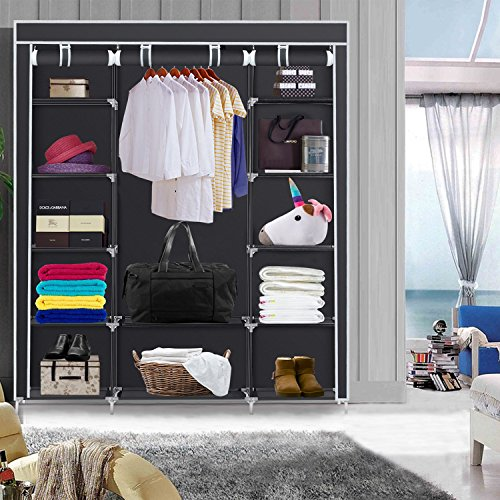 Herron Clothes Closet Portable Storage Organizer Wardrobe Closet with Nonwoven Fabric - Quick and Easy to Assemblely - Extra Strong and Durable - Extra Space - Black- 59 inch by Herron