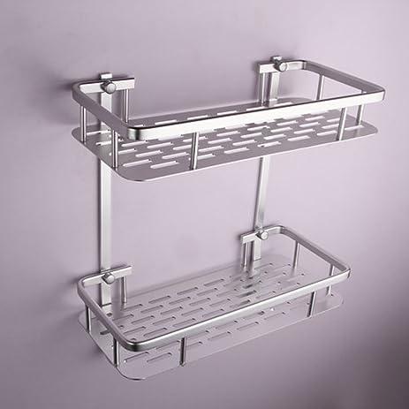 Onkuey Bathroom Aluminum Storage Shelf Basket With Hooks Wall Mounted  Shower Caddy Towel Bar, Rectangular