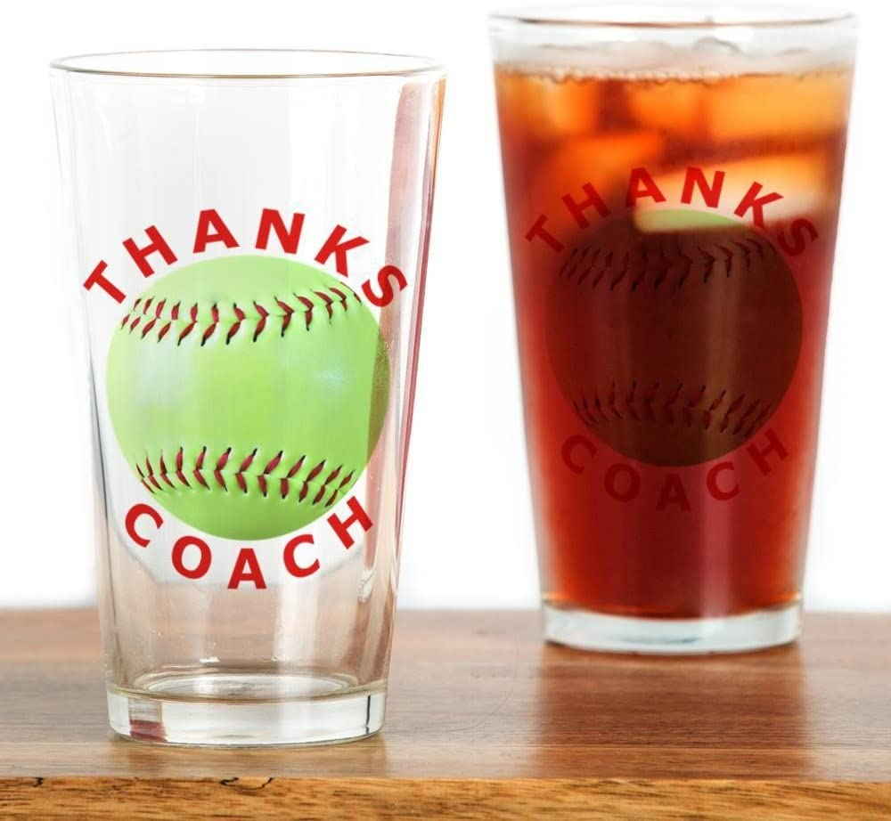 Drinking Glass CafePress Softball Coach Thank You Unique Gifts Drinking Gla Pint Glass 16 oz
