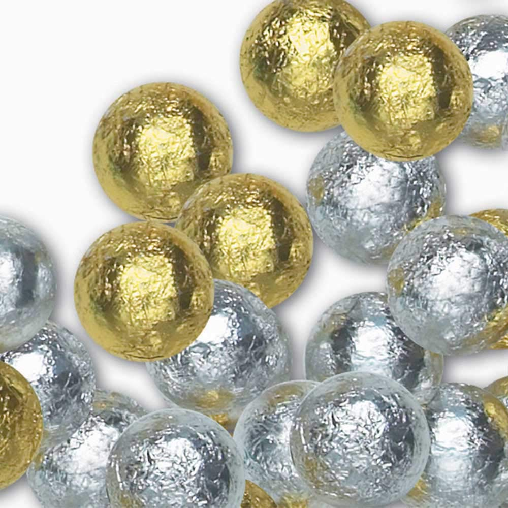 Madelaine Solid Premium Milk Chocolate Balls Wrapped In Gold And Silver Italian Foil - 1 Lb.