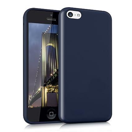 kwmobile Funda compatible con Apple iPhone 5C - Carcasa de TPU silicona - Protector trasero en azul oscuro mate