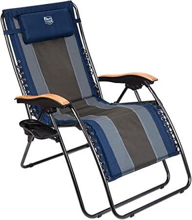 Adjustable Beach Chair Camping Padded Pillow Arm Rests Carry Handle Summer Chair