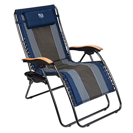 Outstanding Timber Ridge Zero Gravity Locking Patio Outdoor Lounger Chair Oversize Xl Padded Adjustable Recliner With Headrest Support 350Lbs Navy Blue Machost Co Dining Chair Design Ideas Machostcouk