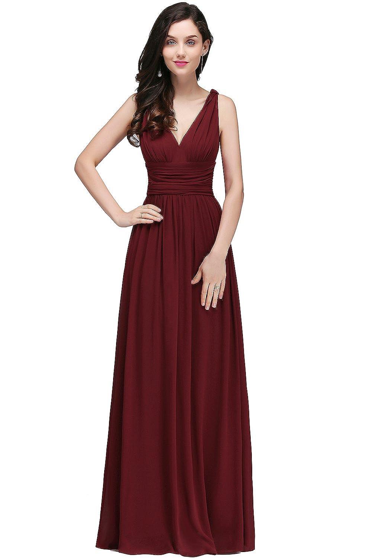 Babyonlinedress® Einfach Tief V-Ausschnitt Ärmellos Bodenlang Abendkleider Chiffon Kleider Gr.S-XL