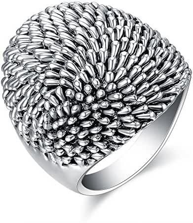Retro Antique Silver Color Design Jewelry Band Woven Rhodium Steel Silver Rings 6 to 9