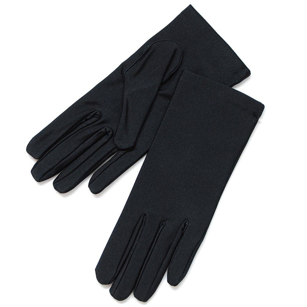 ZaZa Bridal White, Black & Ivory Nylon Formal Women's Gloves Dozen(12 Pairs) Pack-Women's Size Small/Black