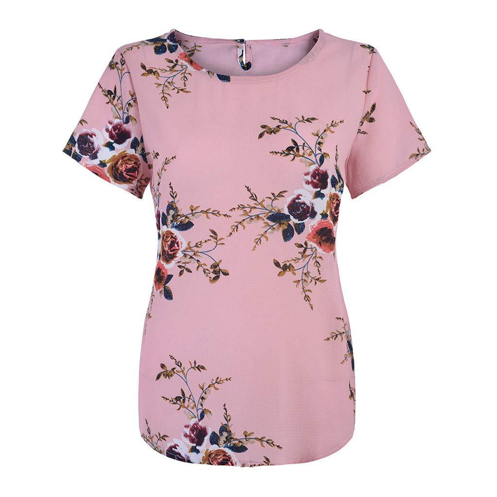 Hotkey Womens Tops Short Sleeve Casual Women Plus Size Flower Printing Shirt Short Sleeve T Shirt Tops Pink