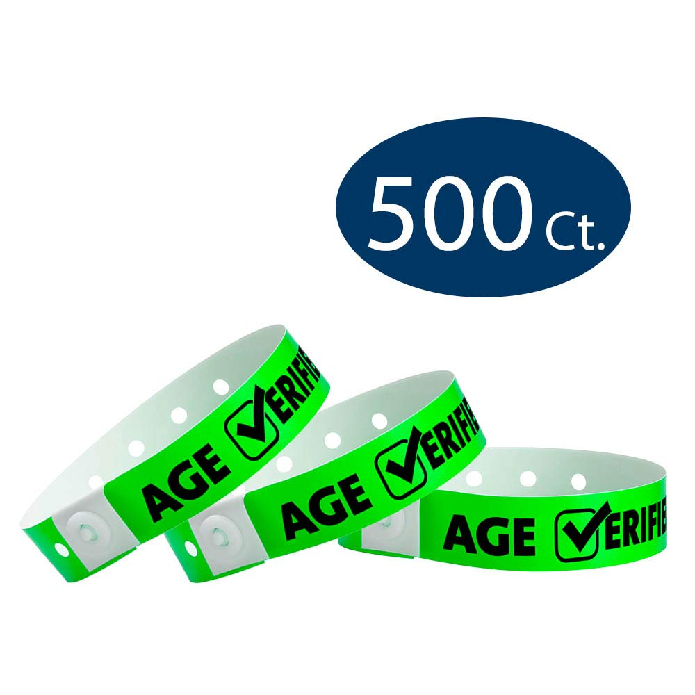 WristCo Neon Green Age Verified Plastic Wristbands - 500 Pack Wristbands for Events by Wristco