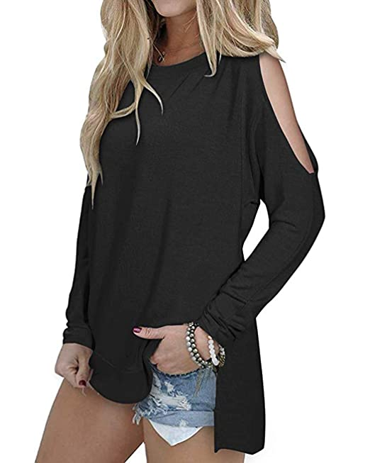 SimpleFun Women's Cutout Cold Shoulder Long Sleeve T-Shirt Tunic Tops Loose Casual Side Split Blouse