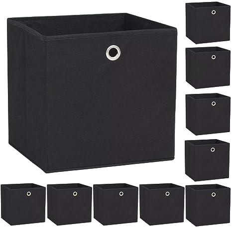 vidaXL 10x Cajas Almacenaje 32x32x32 cm Negro Textil Hogar ...