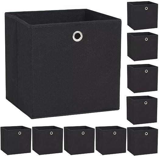 ROMELAREU Cajas de almacenaje 10 uds Textil no Tejido 32x32x32 cm negroCasa y jardín Productos del hogar Organización y Almacenamiento Cestas para almacenaje: Amazon.es: Hogar