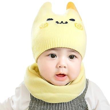 DORRISO Linda Gorra de Bebe Bufanda Primavera Otoño Invierno Cómodo Calentar Gorras con Bufanda Sombrero de Niño Apto para 1 mes-24 Mes bebé: Amazon.es: ...