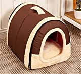 Winter Warm FOLDABLE Non-Slip Outdoor Pet Kennel Cozy Dog House Cat Sofa Puppy Bed (L (58x45x43cm) - Brown)