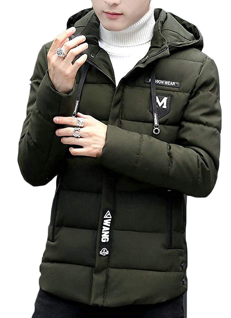 XiaoTianXinMen XTX Mens Warm Quilted Down Jacket Winter Hooded Patches Parka Coat