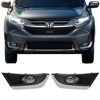 amazon com lights fits 2017 2018 honda crv oe style abs led fog Honda CR-V Hitches amazon com lights fits 2017 2018 honda crv oe style abs led fog light lamp kit switch \u0026 wiring with chrome trim pairs by ikon motorsports automotive